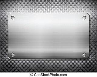 métal, carrée, grille, plaque, noir