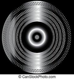 métal, cercle, arrière-plan noir