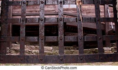 métal, château, vieux, portail