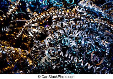 métal, copeaux, grand plan