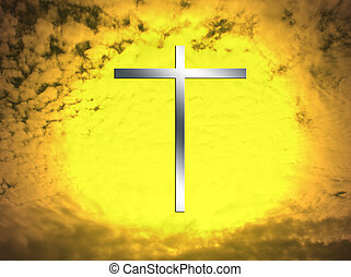métal, croix, dans, a, ardent, ciel