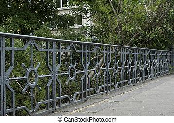 métal, décoratif, barrière
