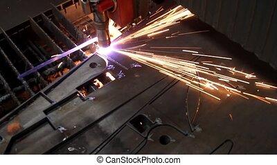 métal, découpage, étincelles, feuille, laser