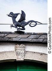 métal, dragon, sur, les, toit