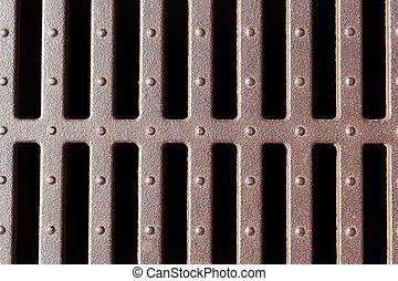 métal, drain, grille