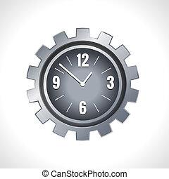 métal, engrenage, horloge