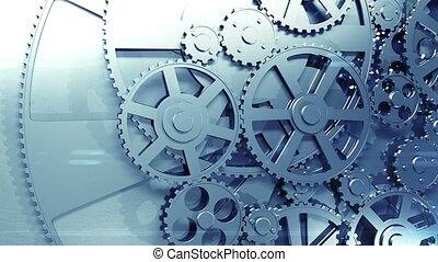 métal, engrenages, tourner, fait boucle, hd