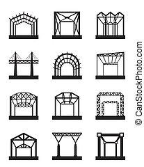 métal, ensemble, structures, icône