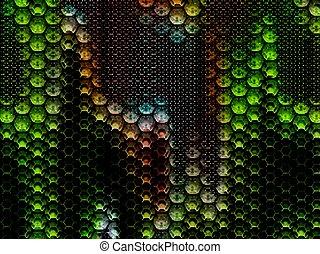 métal, fond, hexagones