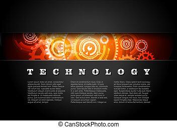 métal, incandescent, technologie, engrenages, panneau