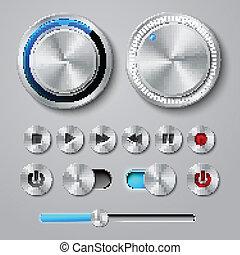 métal, interface, boutons, collection