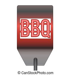 métal, isolé, spatule, chaud, fond, barbecue, blanc