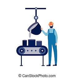 métal, isolated., fonderie, illustration, vecteur, verse, ouvrier usine, plat, fondu