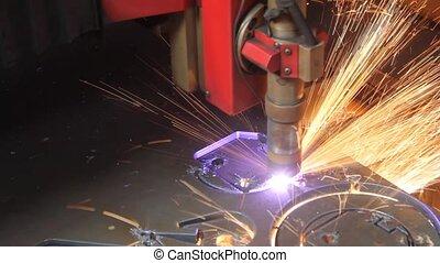 métal, laser, découpage, feuille, étincelles