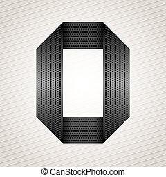 métal, -, nombre, 0, zéro, ruban