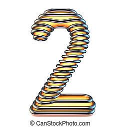 métal, nombre, jaune, deux, 2, orange, cage, 3d