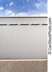 métal ondulé, feuille, bâtiment, mur