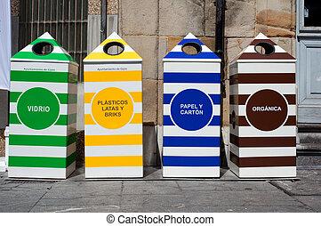métal, papier, recyclage, plastique, quatre, verre, récipients