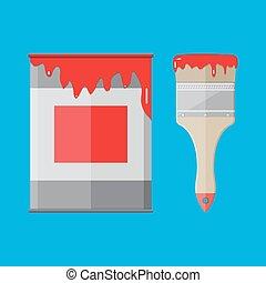 métal, peindre étain, boîte, pinceau, rouges