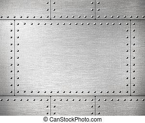 métal, plaques, à, rivets, fond