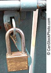 métal, porte fermée, serrure