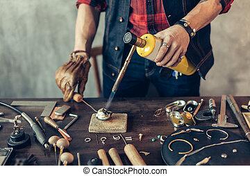 métal, préparer, bijoux, homme