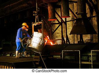 métal, procédés, coulage, ouvriers