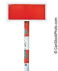 métal, prohibition, signe, avertissement, planche, horizontal, rouges, main-peint