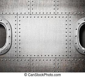 métal, punk, vapeur, sous-marin, fenêtre, bord, fond, bateau, ou