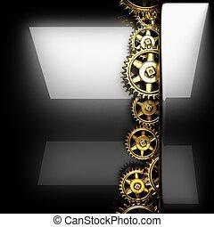 métal, roue dentée, poli, engrenages, fond