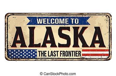 métal rouillé, alaska, signe, accueil, vendange