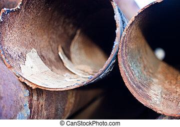 métal, rouillé, closeup, canaux transmission