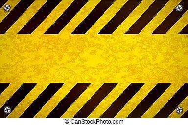métal, signe jaune, clair, avertissement, gabarit, vide, vis