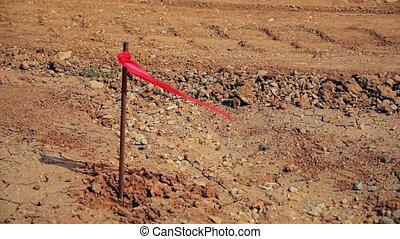 métal, site, drapeau, construction, enquête, cheville, rouges