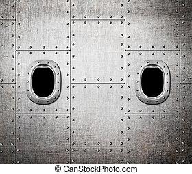 métal, sous-marin, fenêtre, fond, bateau, ou