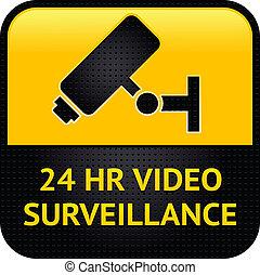 métal, surface, surveillance, frappé, vidéo, symbole