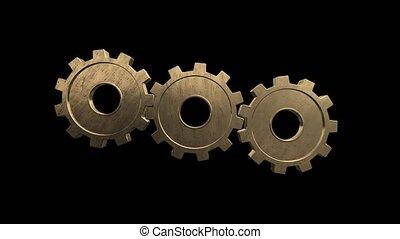 métal, tourner, arrière-plan., noir, engrenages, canal alpha