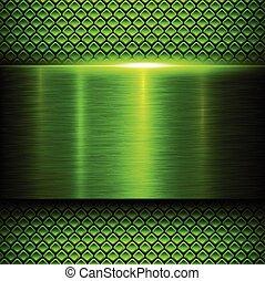 métal vert, fond, texture