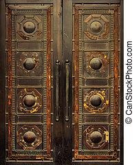 métal, vieux, porte