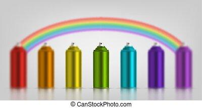 métallique, boîtes, pulvérisation, vecteur, illustration, rainbow., colors., divers, couleurs, peinture