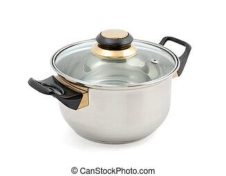 Blanc m tal casserole fond poign e fond m tal isol photo de stock rechercher - Fond de casserole brule ...