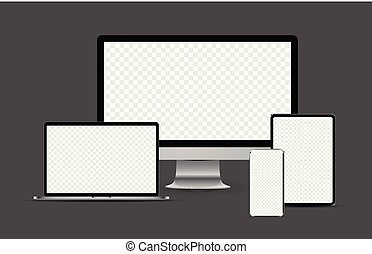 métallique, ordinateur portable, tablette, devices:, électronique, ensemble, réaliste, bureau, computer., smartphone