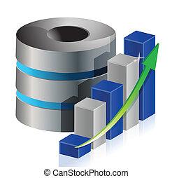 métallique, statistique, données, base, icône, illustration