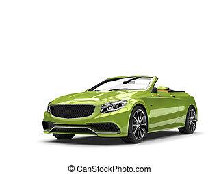 métallique, vert, moderne, luxe, voiture convertible