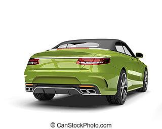 métallique, vert, moderne, luxe, voiture convertible, -, queue, vue