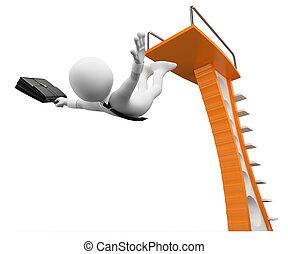 métaphore, business, gens., risques, prendre, blanc, 3d