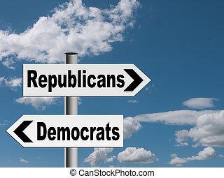 métaphore, usa, concept, politique, républicains, -, démocrates