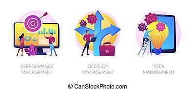 métaphores, solutions, gestion, vecteur, concept