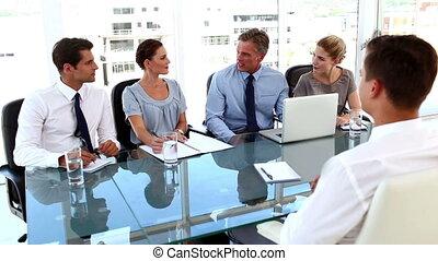 métier, équipe, business, intervie, donner