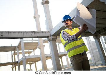 métier, contremaître, site construction